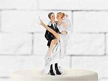Hochzeits - Deko-Figur Brautpaar klassisch Torten- oder Tischdeko (Bräutigam trägt Braut auf Händen)
