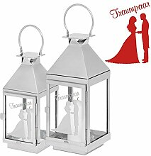 Hochzeits-Laterne Traumpaar 36cm - graviertes Geschenk zur Hochzeit - tolle Geschenkidee für das Brautpaar