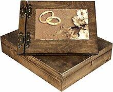 Hochzeitsalbum aus Holz mit Holzschatulle