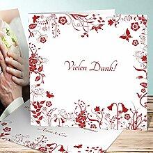 Hochzeitsdankkarten, Sophias Garten 25 Karten, Quadratische Klappkarte 145x145 inkl. weißer Umschläge, Ro