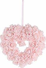 Hochzeitsdeko, Kunstblume, Rosenherz, Rosa, Schaumstoff, B: 28 cm | knuellermarkt.de | Taufe, Tischdeko Hochzeit, Kommunion, Konfirmation, Rosendeko