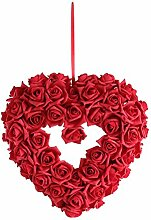 Hochzeitsdeko, Kunstblume, Rosenherz, Rot, Schaumstoff, B: 40 cm | knuellermarkt.de | Taufe, Tischdeko Hochzeit, Kommunion, Konfirmation, Rosendeko
