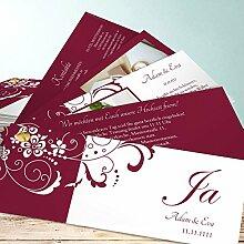 Hochzeitseinladung Set, Garten der Träume 90 Karten, Kartenfächer 210x80 inkl. weißer Umschläge, Ro
