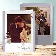 Hochzeitsfotoalbum mit Namen, Du, nur Du 60 Seiten, 30 Blatt, Hardcover 234x296 mm personalisierbar, Lila