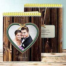 Hochzeitsfotoalbum mit Namen, Herz 32 Seiten, 16 Blatt, Hardcover 234x296 mm personalisierbar, Gelb