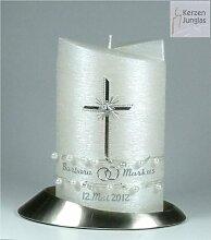 Hochzeitskerze klassisch Oval 19/13 cm,Silber