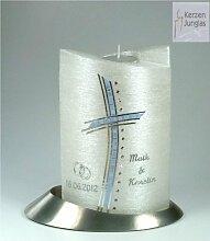 Hochzeitskerze mit Teelichteinsatz Oval 19/13 cm,