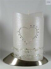 Hochzeitskerze modern Oval 19/13 cm, Silber - 1386