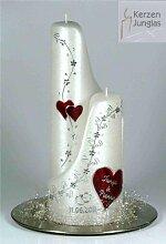 Hochzeitskerze modern Ying-Yang 27/10 cm, Silber