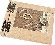 Hochzeitsmotiv Fotoalbum aus hellem Holz 50 weiße