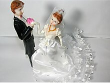 Hochzeitspaar Brautpaar 19cm schwarz weiss Tisch-Deko Torten-Aufsatz Hochzei