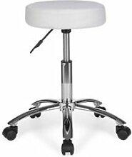 Hocker Arbeitshocker Stoffbezug Weiß Sitzhocker