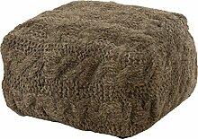 Hocker aus natürlicher Wolle / Sitzwürfel, handgewebt 55x55x35cm - Stein (006)