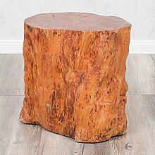 Hocker Beistelltisch LONGAN Natural Longan-Holz Massivholz Hotzklotz Baumstamm