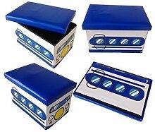 Hocker Blue Bus Faltbarer Original GMMH Spielzeugbox Spielzeugtruhe Spielzeugkiste AufbewahrungsboxSitzhocker faltbar