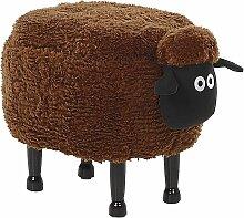 Hocker für Kinder Holz Polyester Braun Schaf-Form