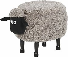 Hocker für Kinder Holz Polyester Grau Schaf-Form
