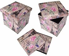 Hocker GMMH Sitzhocker Paris ROSEN Box Aufbewahrungsbox Sitzwürfel Truhe Fußbank Sitzbank Faltbar