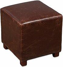 Hocker HOME Brown Spalt-Leder Clubhocker Sitzwürfel 35x35cm Vintage