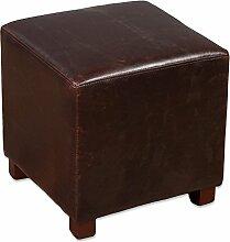 Hocker HOME Dark-Brown Spalt-Leder Clubhocker Sitzwürfel 35x35cm Vintage
