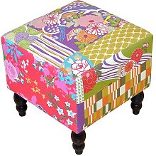 Hocker  im Patchwork Design Bunt