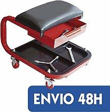 Hocker mit Rollen für Arbeit in Werkstatt mechanisch verstärkt mit Schublade