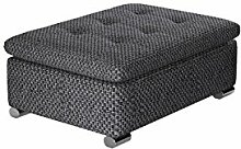 Hocker Niko groß Sitzhocker Polsterhocker Sitzbank Fußbank Pouf Farbauswahl weiß grau (Majorka 03)
