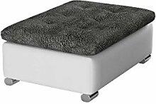 Hocker Niko groß Sitzhocker Polsterhocker Sitzbank Fußbank Pouf Farbauswahl weiß grau (Rain 01 + Forever 68)