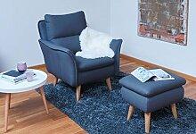 Hocker Polsterhocker Sitzhocker Fussablage Couchtisch Klavierhocker Fussbank für Ohrensessel und skandinavische Möbel mit Massivholzfüssen passend zu Relaxsessel der Polstergarnitur Insideou