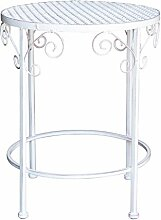 Hocker Provance weiß, Ø 35 cm, Höhe 43 cm, weißer Metallhocker, Gartenhocker, Gartenmöbel Metallmöbel Provance