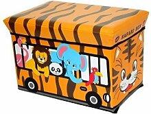 Hocker Safari 40 x 25 x 25 cm Faltbarer Original GMMH Spielzeugbox Spielzeugtruhe Spielzeugkiste AufbewahrungsboxSitzhocker faltbar