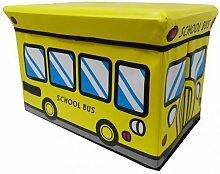 Hocker School Bus Faltbarer Original GMMH Spielzeugbox Spielzeugtruhe Spielzeugkiste AufbewahrungsboxSitzhocker faltbar