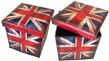 Hocker Sitzhocker England Original GMMH Box Aufbewahrungsbox Sitzwürfel Truhe Fußbank Sitzbank Faltbar