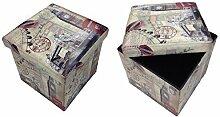 Hocker Sitzhocker London Brücke Original GMMH Box Aufbewahrungsbox Sitzwürfel Truhe Fußbank Sitzbank Faltbar