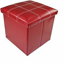 Hocker Sitzhocker Original GMMH 38 x 38 x 38 cm Box Aufbewahrungsbox Sitzwürfel Truhe Fußbank Sitzbank Faltbar (dunkel rot)