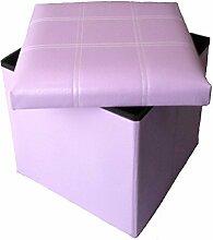 Hocker Sitzhocker Original GMMH 38 x 38 x 38 cm Box Aufbewahrungsbox Sitzwürfel Truhe Fußbank Sitzbank Faltbar (lila)