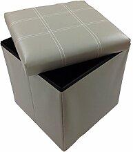 Hocker Sitzhocker Original GMMH 38 x 38 x 38 cm Box Aufbewahrungsbox Sitzwürfel Truhe Fußbank Sitzbank Faltbar (hell grau)