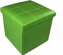 Hocker Sitzhocker Original GMMH 38 x 38 x 38 cm Box Aufbewahrungsbox Sitzwürfel Truhe Fußbank Sitzbank Faltbar (grün)