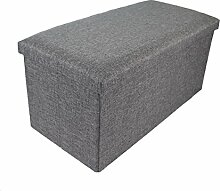 Hocker Sitzhocker Original GMMH 76 x 38 x 38 cm Box Aufbewahrungsbox Sitzwürfel Truhe Fußbank Sitzbank Faltbar Belastbar bis 300 kg (grau)