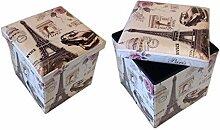 Hocker Sitzhocker Paris beige Original GMMH Box Aufbewahrungsbox Sitzwürfel Truhe Fußbank Sitzbank Faltbar