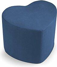 Hocker Sitzsack Puff Puf Herz blau aus Mikrofaser für Sitz Mis.50x 41H.41cm.Abnehmbar