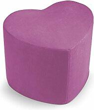 Hocker Sitzsack Puff Puf Herz fuxia aus Mikrofaser für Sitz Mis.50 x 41 H.41 cm.Abnehmbar