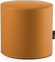 Hocker Sitzsack Puff Puf Rund Orange geeignet für Sitz und Fußhocker in Kunstleder Mis.44x H.42cm.Abnehmbar mit Reißverschluss am Boden innen Polyurethan Material