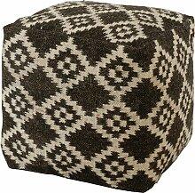 Hocker / Sitzwürfel mit Kelim Muster Raute aus Wolle, handgewebt 40x40x40cm - Schwarz, Weiss (009)