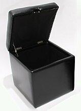 Hocker Sitzwürfel Sitzhocker Aufbewahrungsbox Onex, mit Deckel, LEDER, 45x44x44cm ~ schwarz