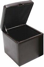 Hocker Sitzwürfel Sitzhocker Aufbewahrungsbox Onex, mit Deckel, LEDER, 45x44x44cm ~ braun