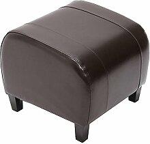 Hocker Sitzwürfel Sitzhocker Emmen, LEDER, 37x45x47 cm ~ braun