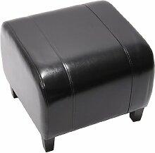 Hocker Sitzwürfel Sitzhocker Emmen, LEDER, 37x45x47 cm ~ schwarz