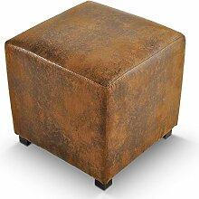 Hocker Sitzwürfel Wildlederoptik braun