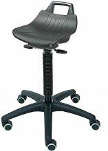 Hocker STABILITH, PP-Sitz schwarz, mit Rollen, H 52-72 cm von Lotz